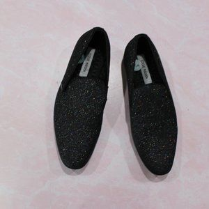 Steve Madden Black Glitter Square Toe Loafers